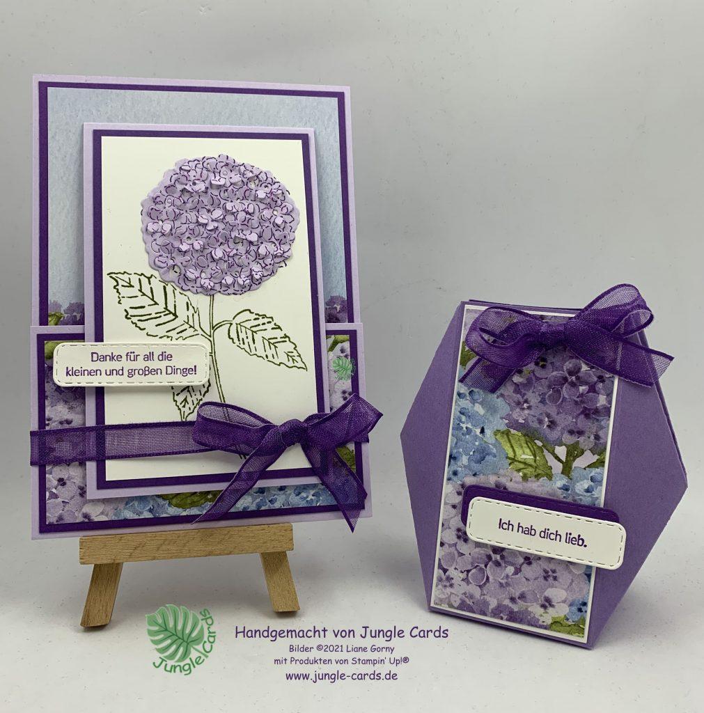 Stampin Up, Geschenkset, Facettenbox, Fun Fold Karte, Hortensienpark