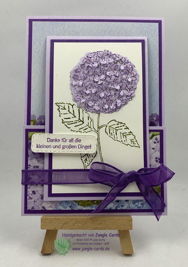 Fun Fold Card, Hortensienpark, herrliche Hortensie, Hortensie