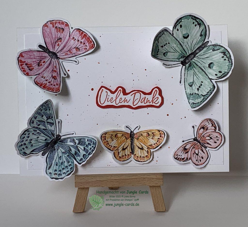 Stampin Up, Flügel voller Fanatsie, Schmetterlinge, Danke