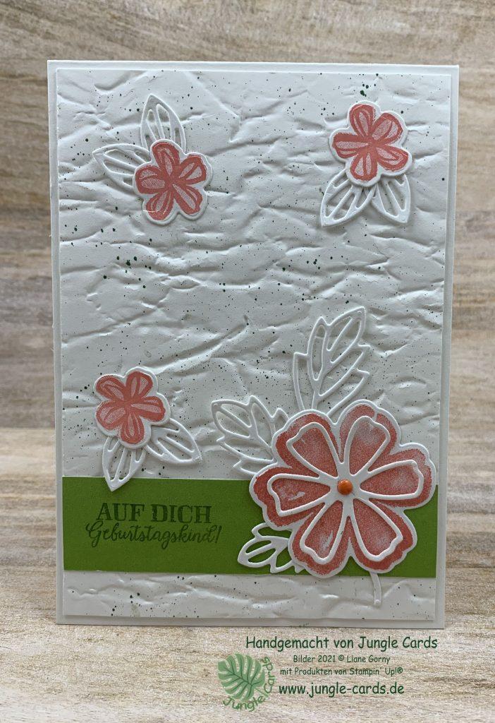 Stampin Up, Frühlingskarte, Blumen voller Freude, Anleitung, Farbchallange, Prägeform Antikes Papier