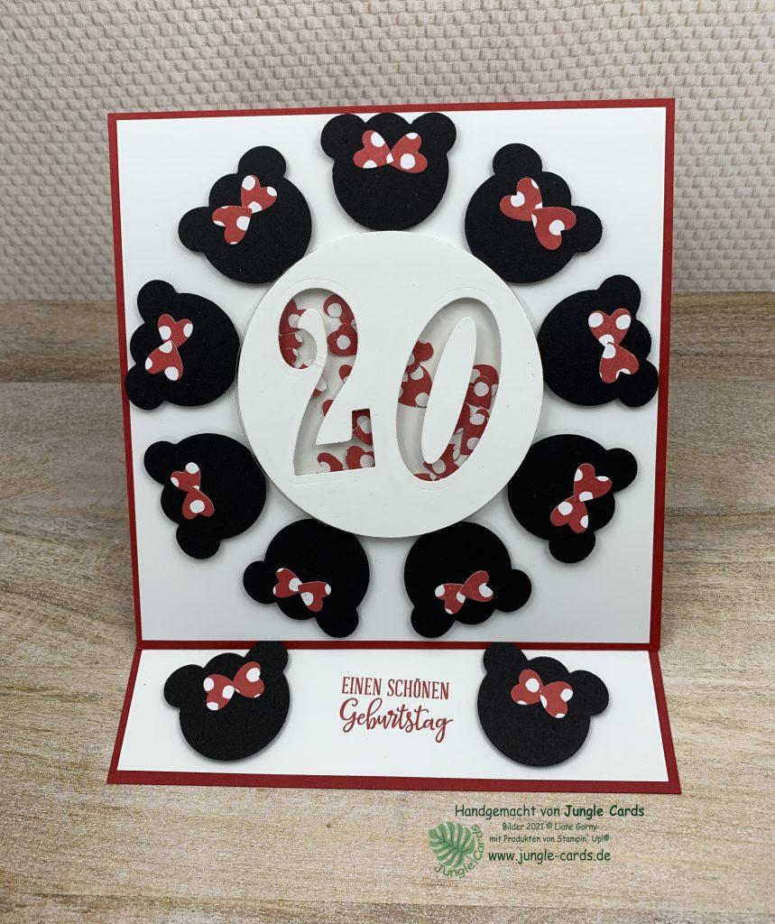 besondere Karte, runder Geburtstag, Disney Karte, Minnie Mouse, Aufstellkarte, Easelkarte, Easelcard