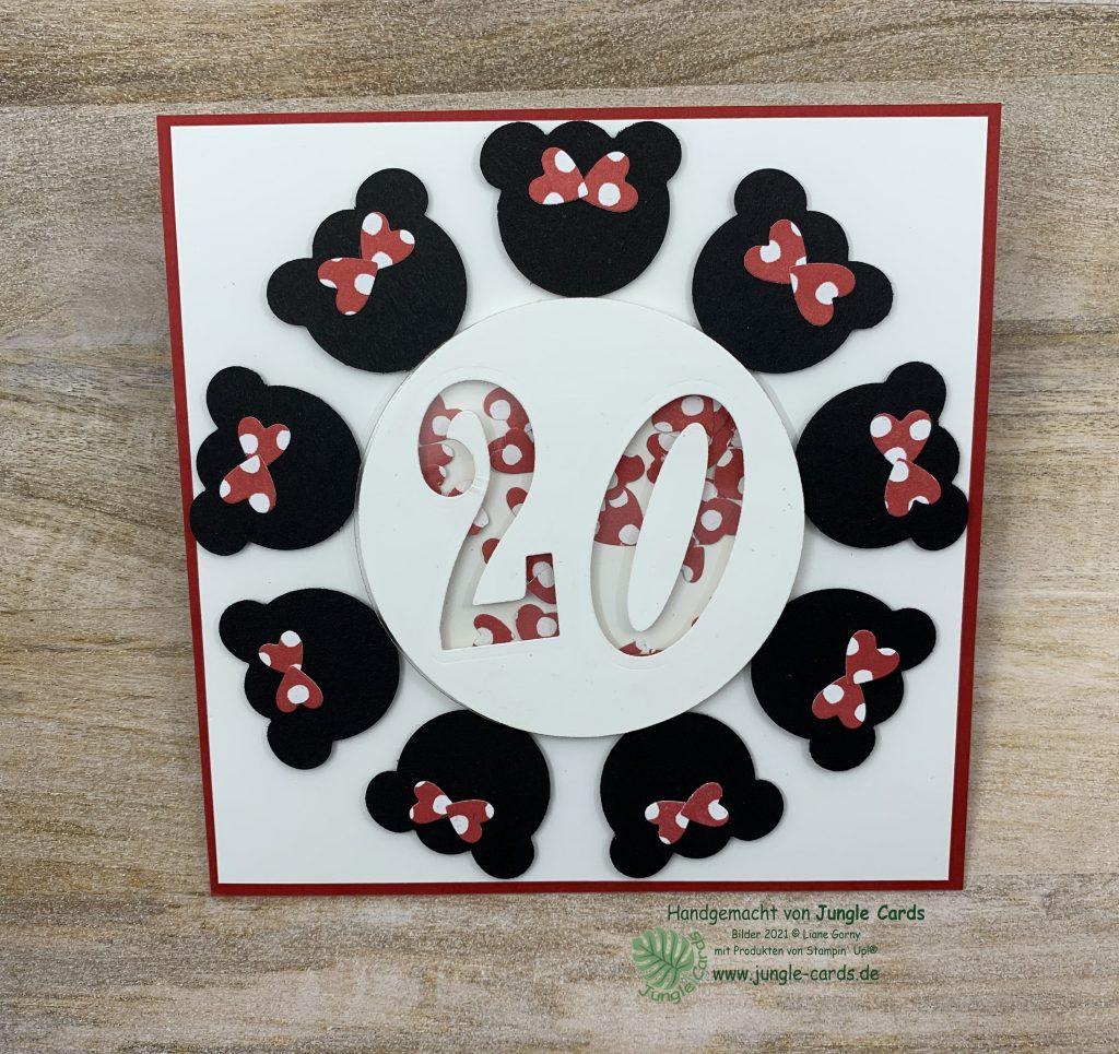 besondere Karteform, runder Geburtstag, Disney Karte, Minnie Mouse, Aufstellkarte, Easelkarte, Easelcard