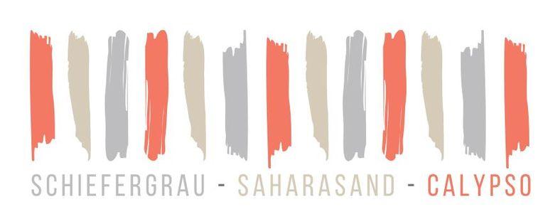 We fall in Colours Motnatsfarben April Schiefergrau Saharasand Calypso