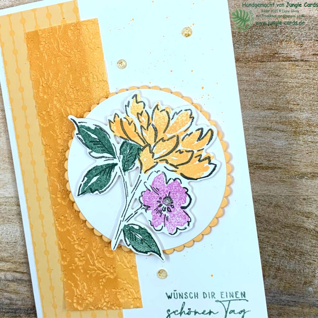BlogHop, Lüftchen, Frühling, Basteln, Friedrichsdorf, neuer Katalog, Stampin' UP!, Papaya, Seladon, Fresienlila, Handgemalte Blüten