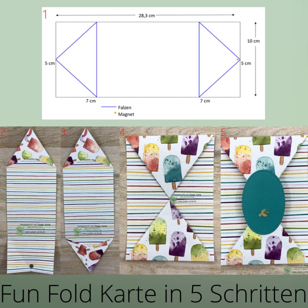Basteln, Stampin' UP!, Gutscheinkarte zum Eisessen, Geburtstagskarte, Eisdiele, Eiszeit, Anleitung Fun Fold Karte in 5 Schritten
