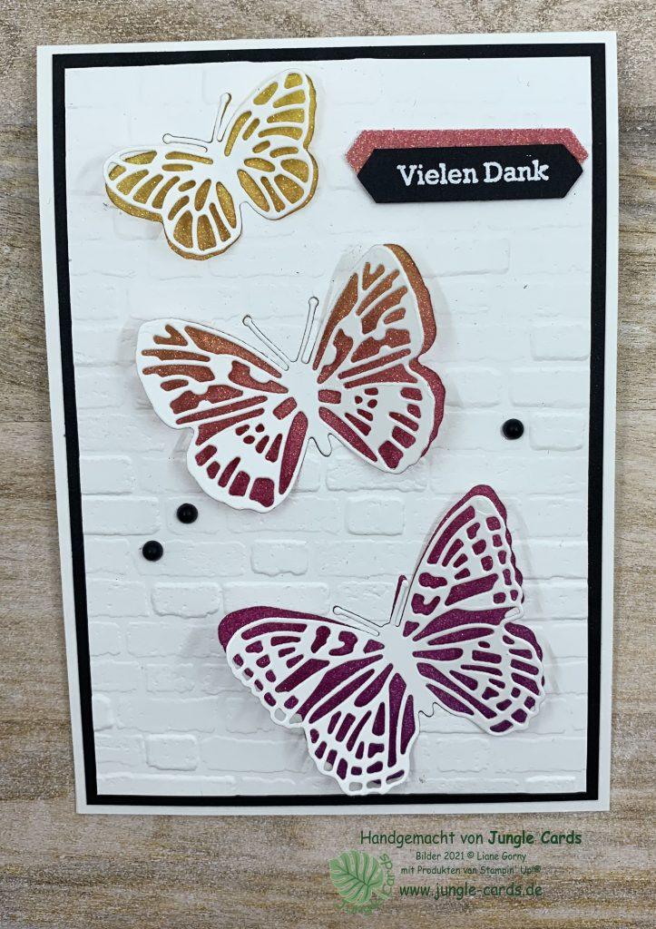 Dankekarte, Voting, Schmetterlinge,Basteln, Friedrichsdorf, besondere Karte, Regenbogenfarben