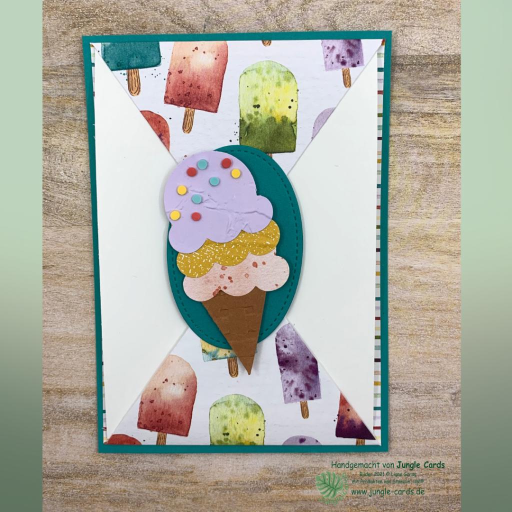 Basteln, Stampin' UP!, Gutscheinkarte zum Eisessen, Geburtstagskarte, Eisdiele, Eiszeit, Fun Fold Karte, Magnetverschluss
