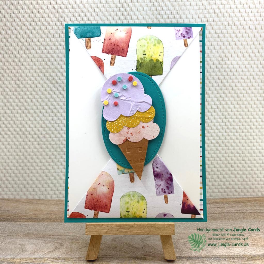 Fun Fold Karte, Grenzenlose Kreativität, Basteln, Stampin' UP!, Gutscheinkarte zum Eisessen, Geburtstagskarte, Eisdiele, Eiszeit