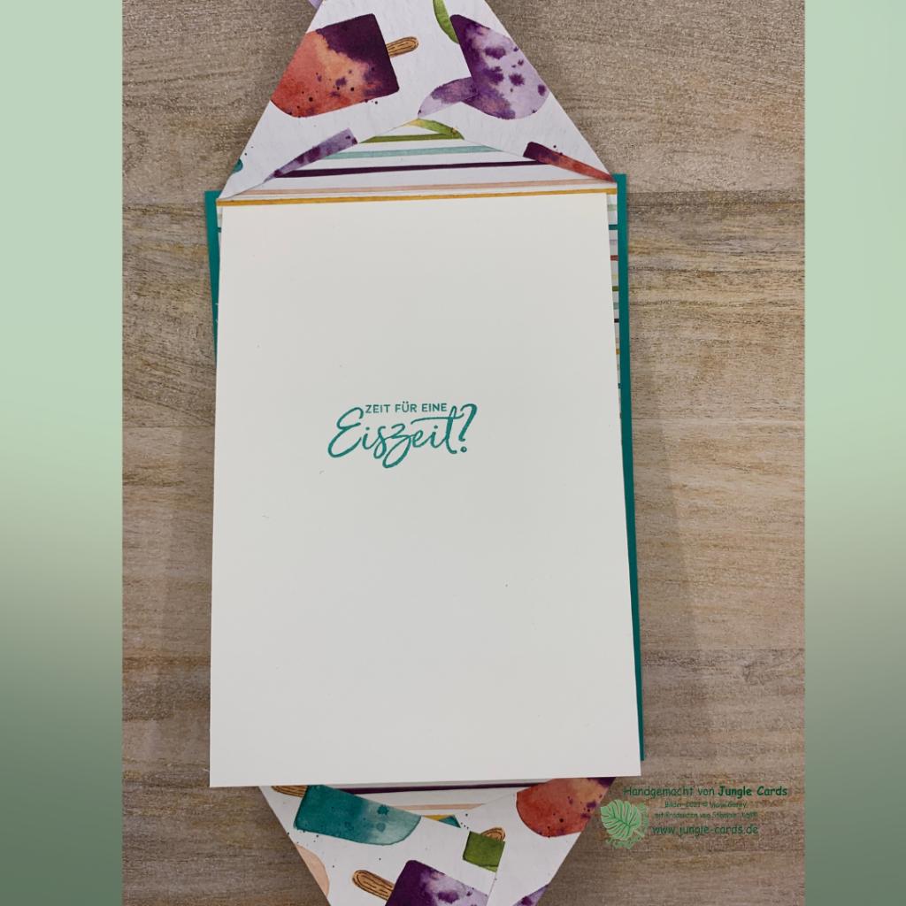 Basteln, Stampin' UP!, Gutscheinkarte zum Eisessen, Geburtstagskarte, Eisdiele, Eiszeit, Fun Fold Karte mit Magnetverschluss