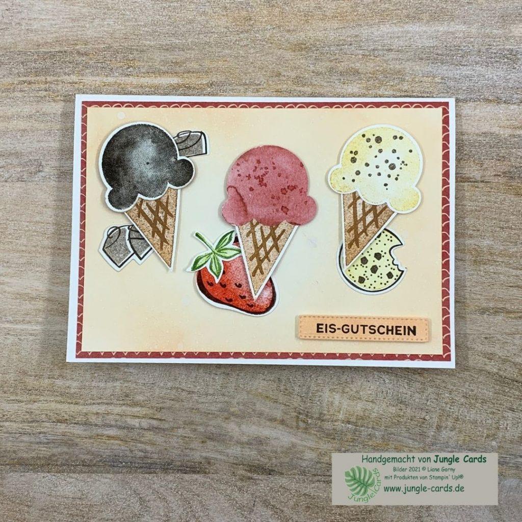 """Minikatalog, Jahreskatalog, Stampin' UP!, Produktpaket """"Eiszeit"""", besondere Geburtstagskarte, Stanzform Besser als, Handstanze Erdbeere, Eisgutschein, basteln in Friedrichsdorf"""