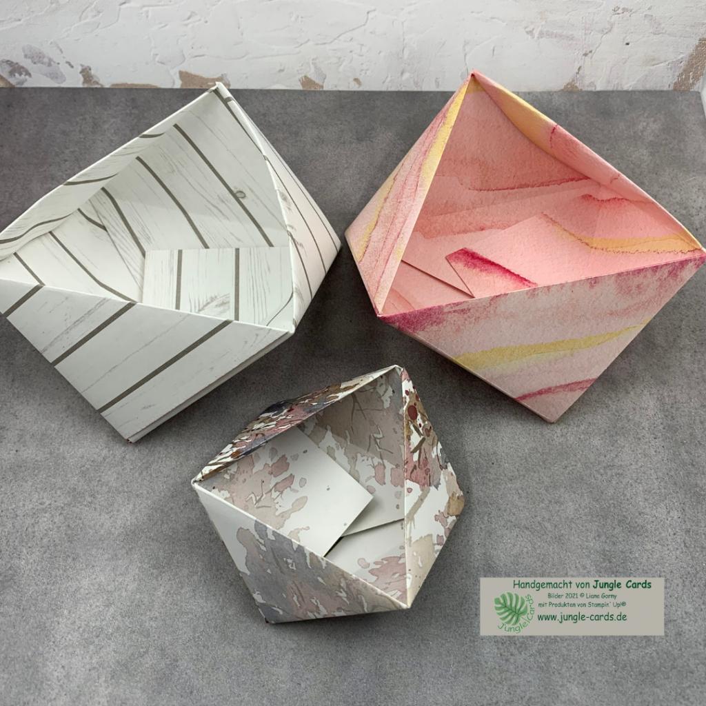 Varianten von Origami Dreieckskörbchen
