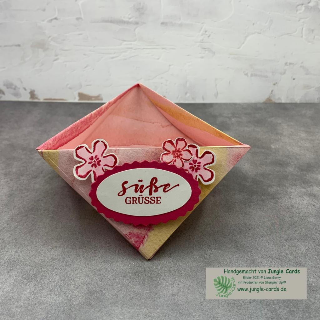 Origami Dreieckskörbchen Süße Grüße Beerenstark