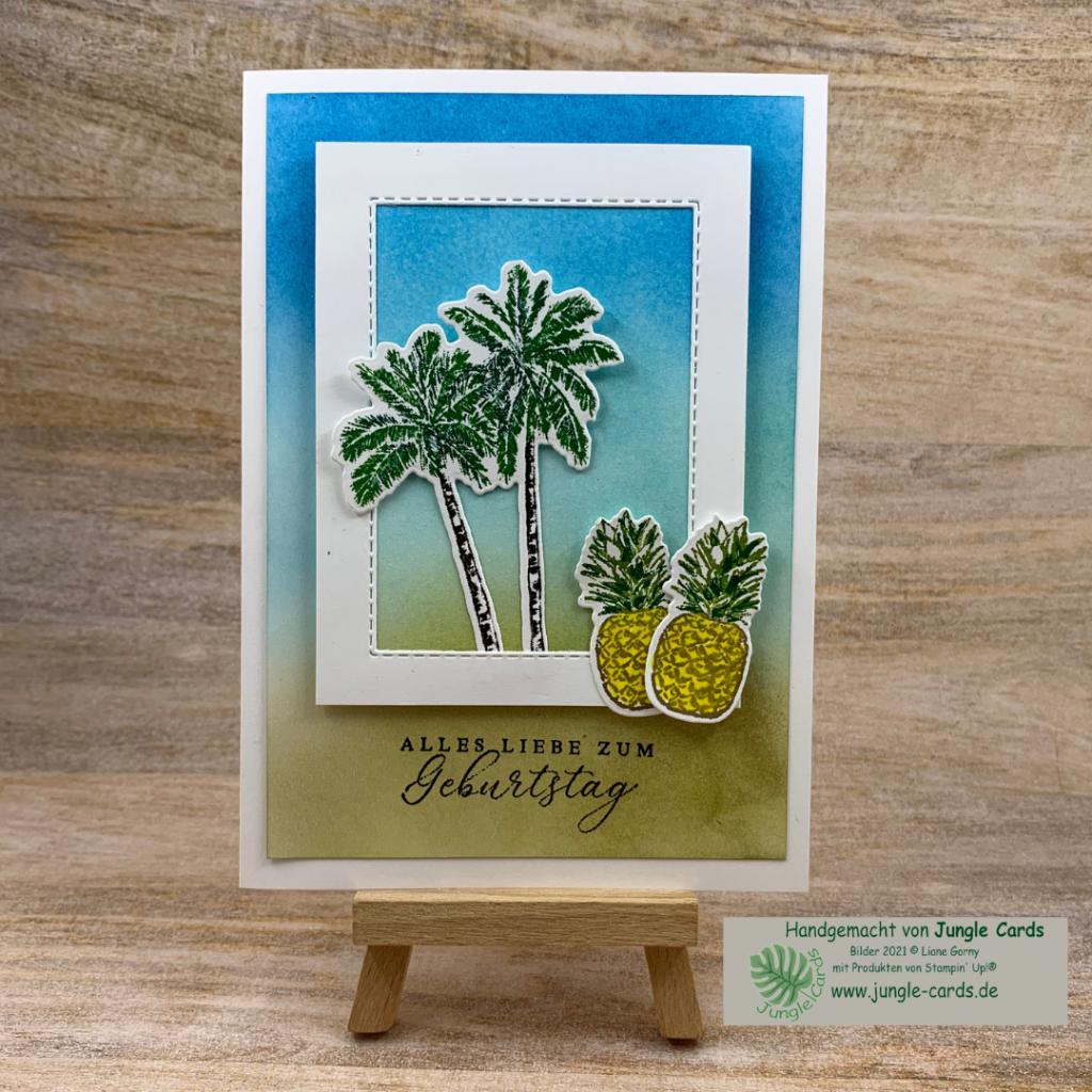 Geburtstagskarte, Sommer Feeling. Tropische Träume, colorieren