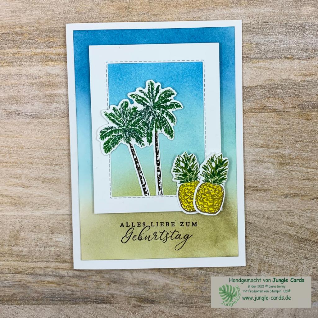 Geburtstagskarte, Sommer Feeling. Tropische Träume, colorieren, Sommer, Sonne. Sand, Meer