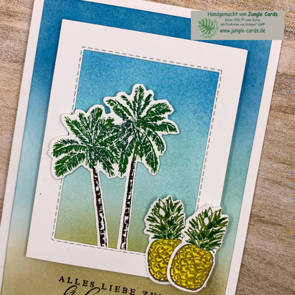 Geburtstagskarte, Sommer Feeling. Tropische Träume, colorieren, Ananas, Palmen