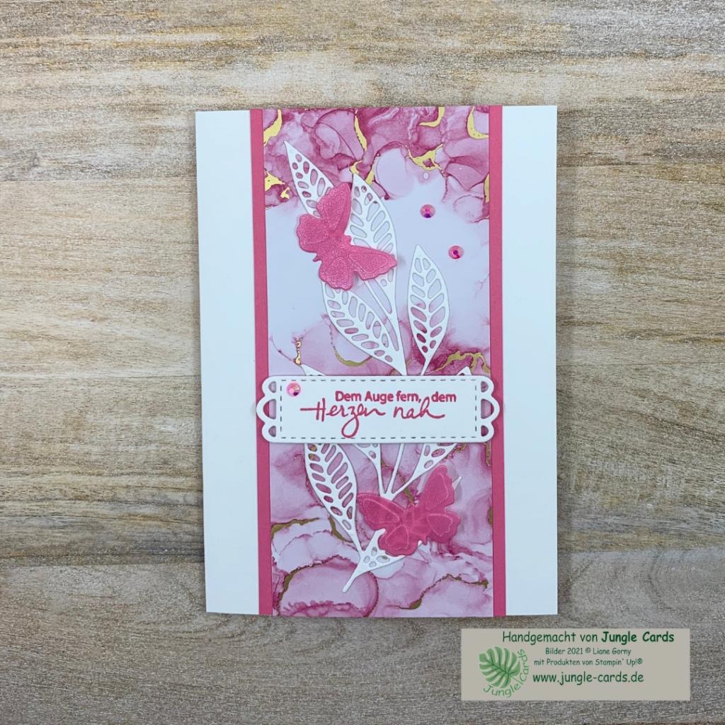 schlichte Grußkarte, zartes Blatt, Designpapier Tintenkunst, Pergamentpapier, Stanzformen Kunstvoll Koloriert und Wiese