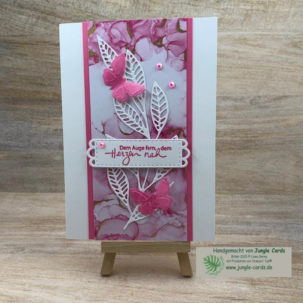 schlichte Grußkarte, zartes Blatt, Designpapier Tintenkunst, Pergamentpapier