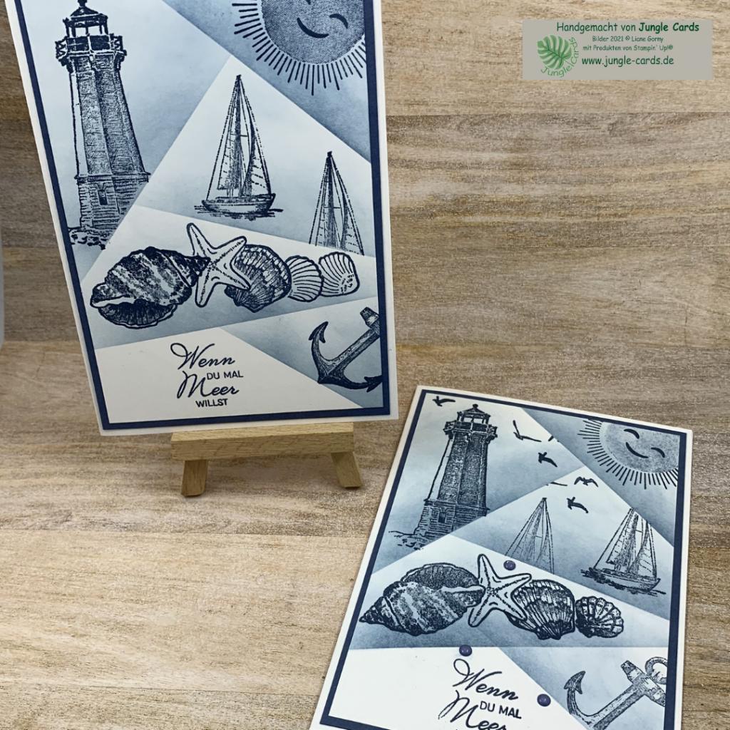 maritime Geburtstagskarte, Muscheln, Leuchtturm, Segelboot, Anker, besonder Geburtstagskarte