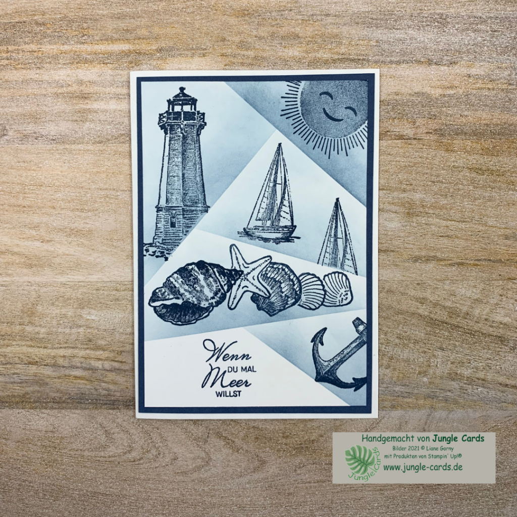 maritime Grusskarte, Retiform-Technik, Muscheln, Leuchtturm, Segelboot, Anker, Urlaub, Sonne