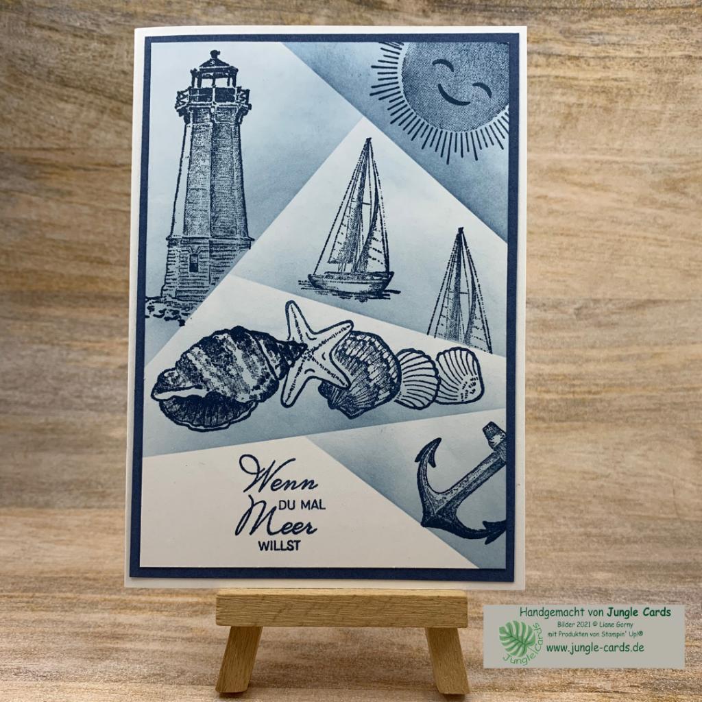 maritime Geburtstagskarte, Muscheln, Leuchtturm, Segelboot, Anker