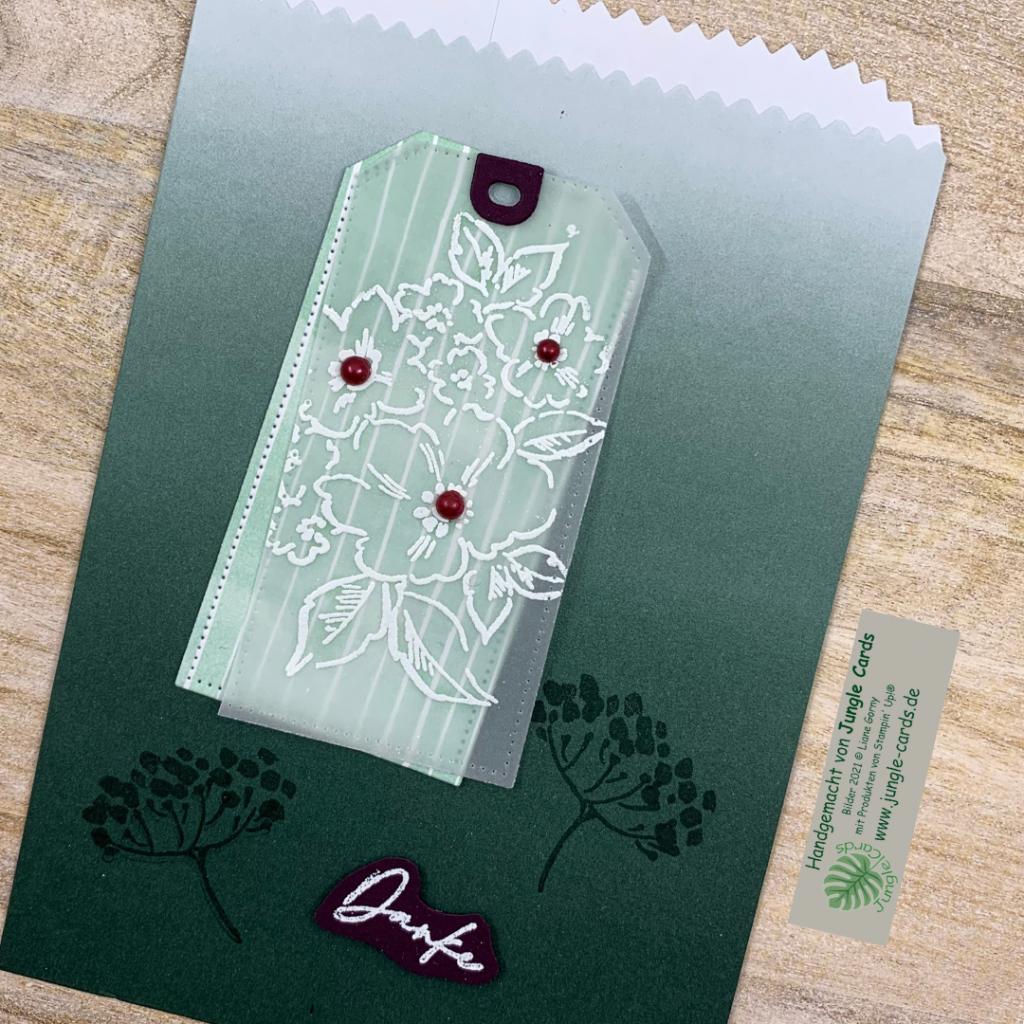 Geschenktüte in Lodengrün mit Produktreihe von Hand gemalt dekoriert, Danke