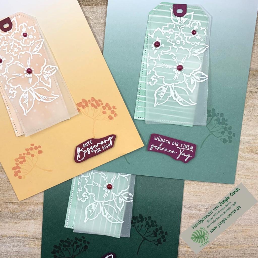 Geschenktüte in Seladon mit Produktreihe von Hand gemalt dekoriert, Gute Besserung, Wünsch Dir einen schönen Tag