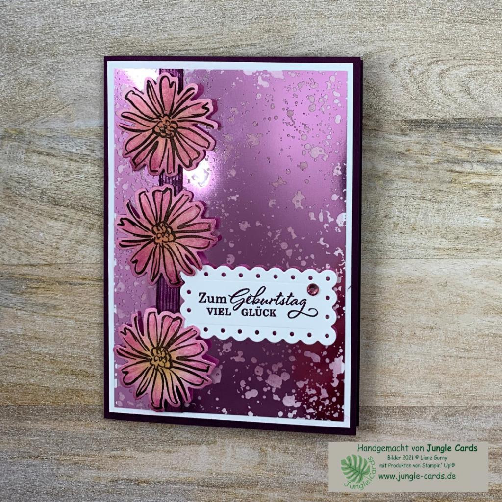 Materialmix, Geburtstagskarte,  Konturiert und Koloriert, Azetatpapier, colorieren, stempeln, stanzen