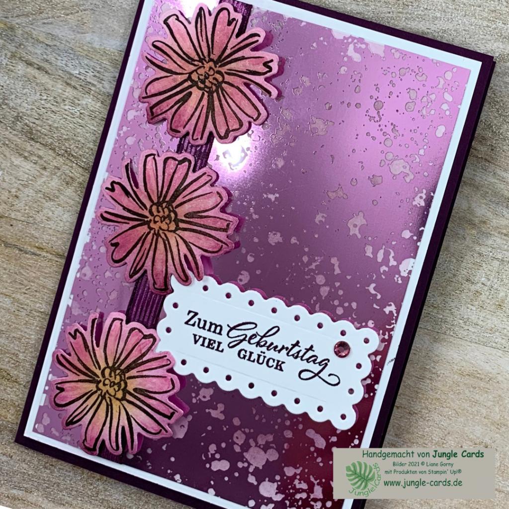 Materialmix, Geburtstagskarte,  Konturiert und Koloriert, Azetatpapier, , stempeln, stanzen, Blüten colorieren