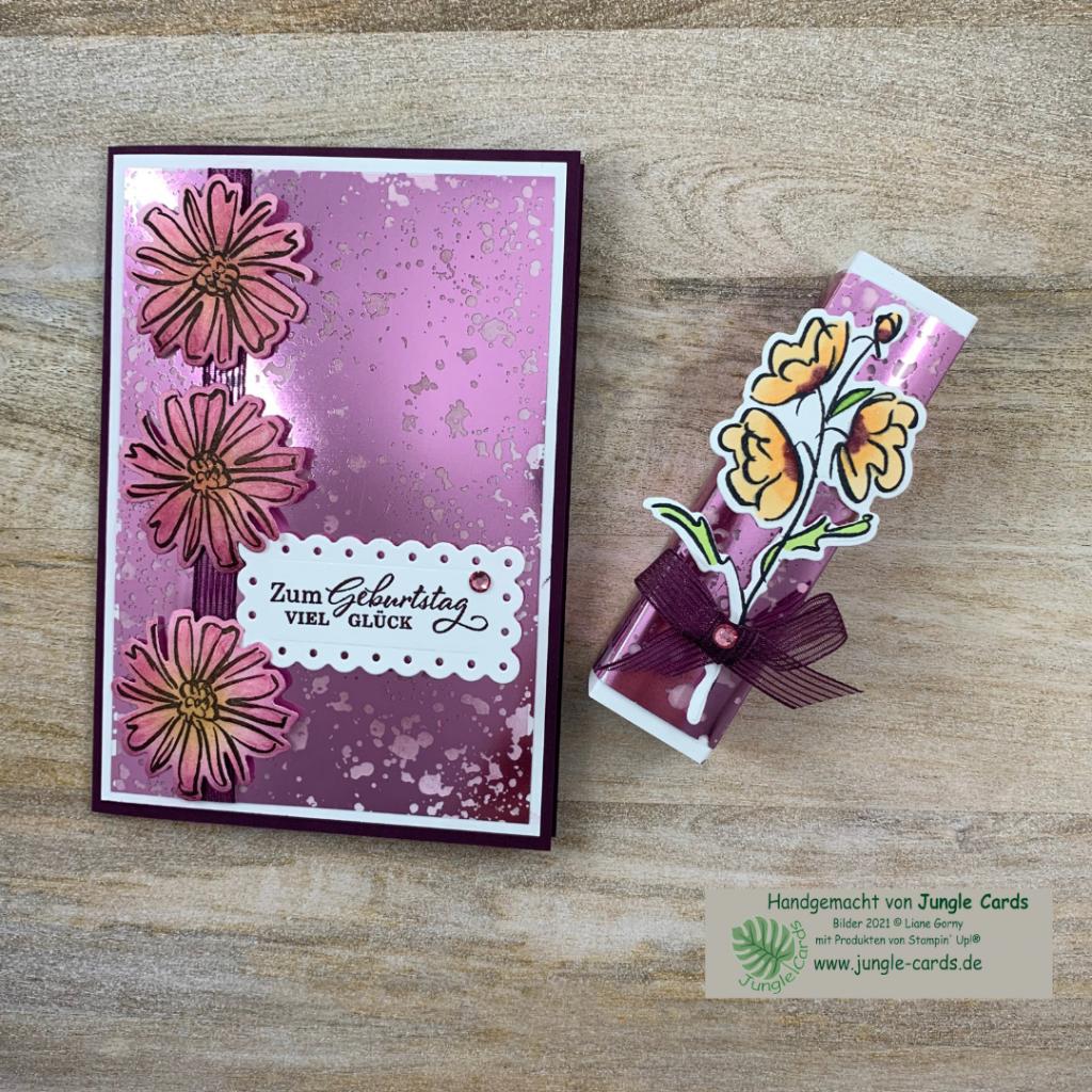 Materialmix, Geburtstagskarte, Geschenkverpackung, Konturiert und Koloriert, Azetatpapier