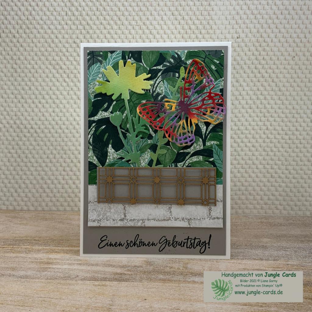 Geburtstagskarte, Designpapier Pflanzecke, Farbkarton Granit, Leinenpapier und Papiergitter, Blumentopf