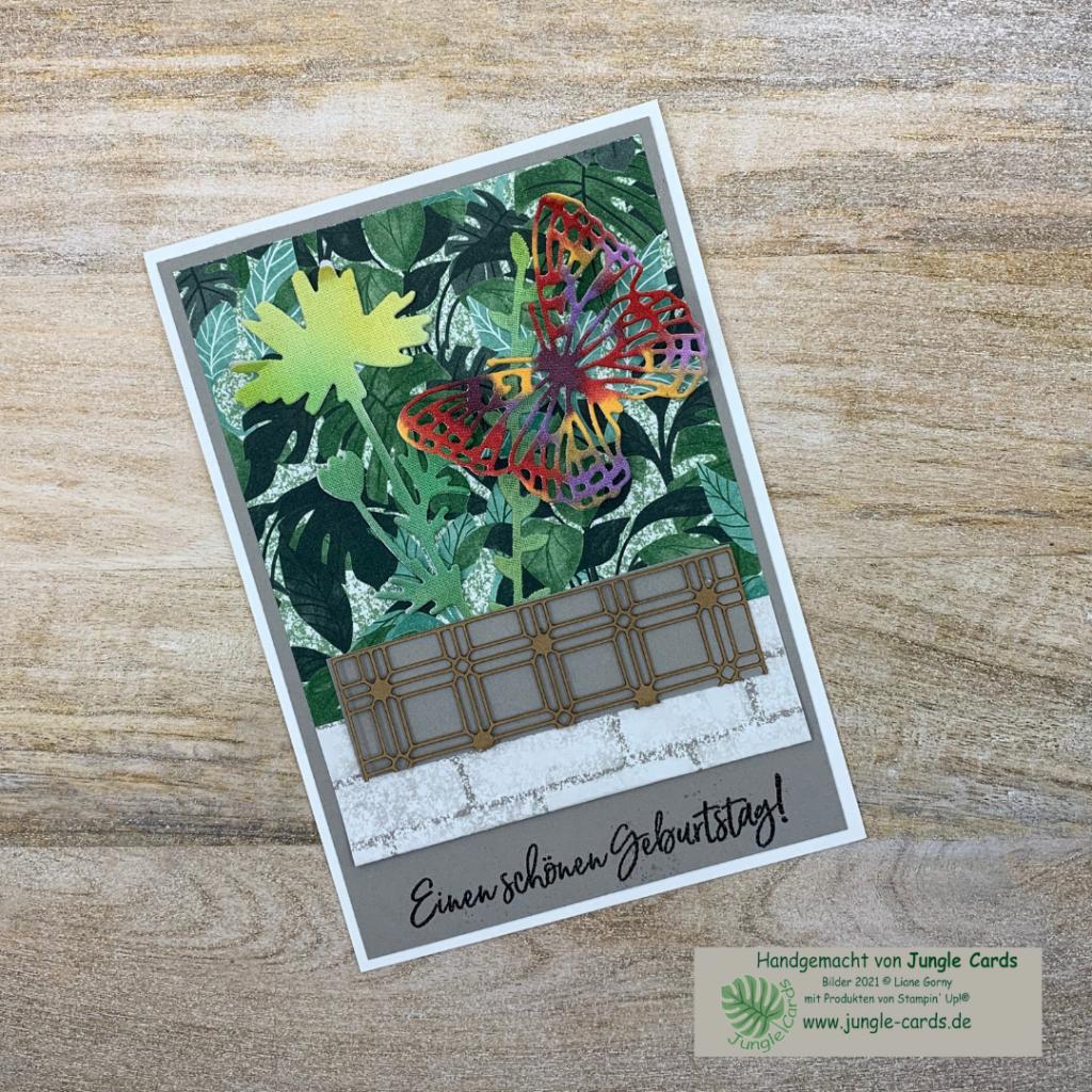 Geburtstagskarte mit Blumentopf, Designpapier Pflanzecke, Spruch heiß embossen