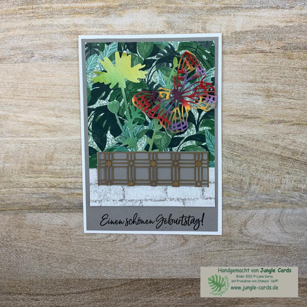 Geburtstagskarte mit Blumentopf, Designpapier Pflanzecke