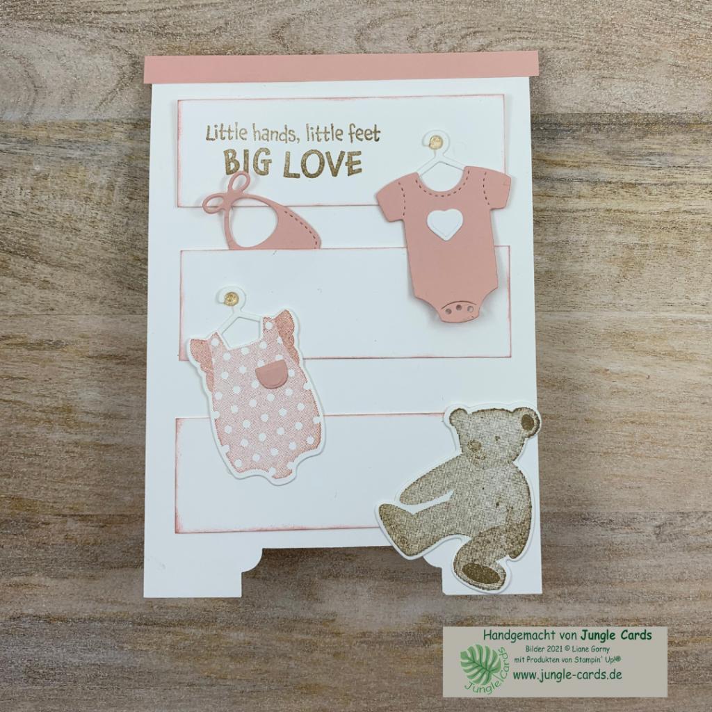 Babykarte mit Produktpaket All for Baby besonder Babykarte für ein Mädchen, Wickelkommode