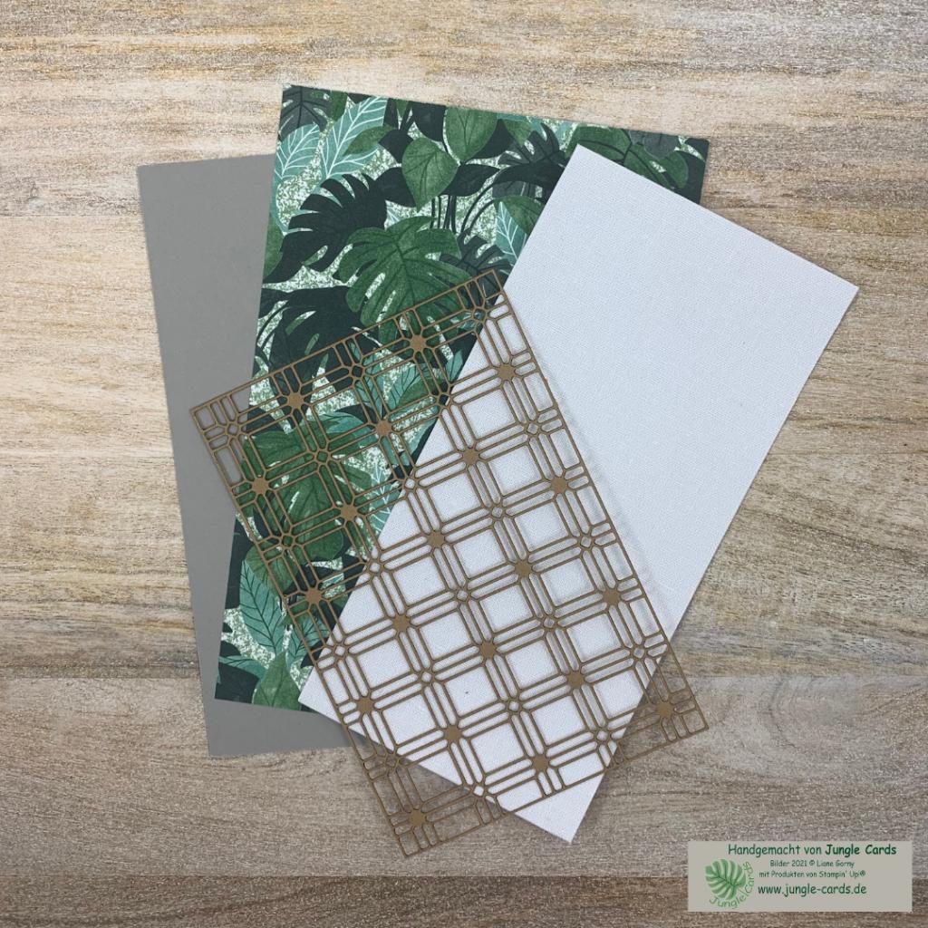 Mach was draus, Materialpaket, Designpapier Pflanzecke, Farbkarton Granit, Leinenpapier und Papiergitter.