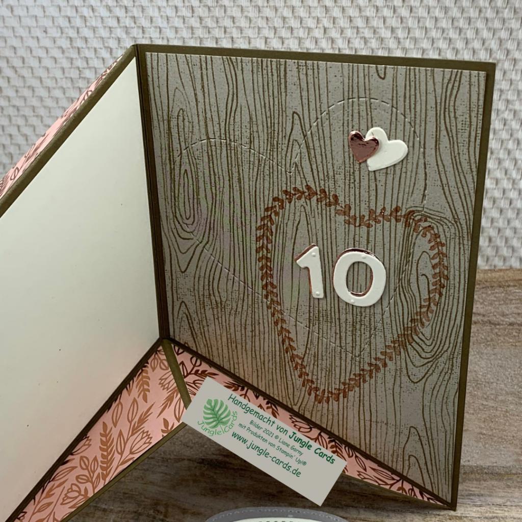 Miuri Fold Card, Hochzeitstag, besondere Grußkarte zum 10. Hochzeitstag, gestanzte Herzen