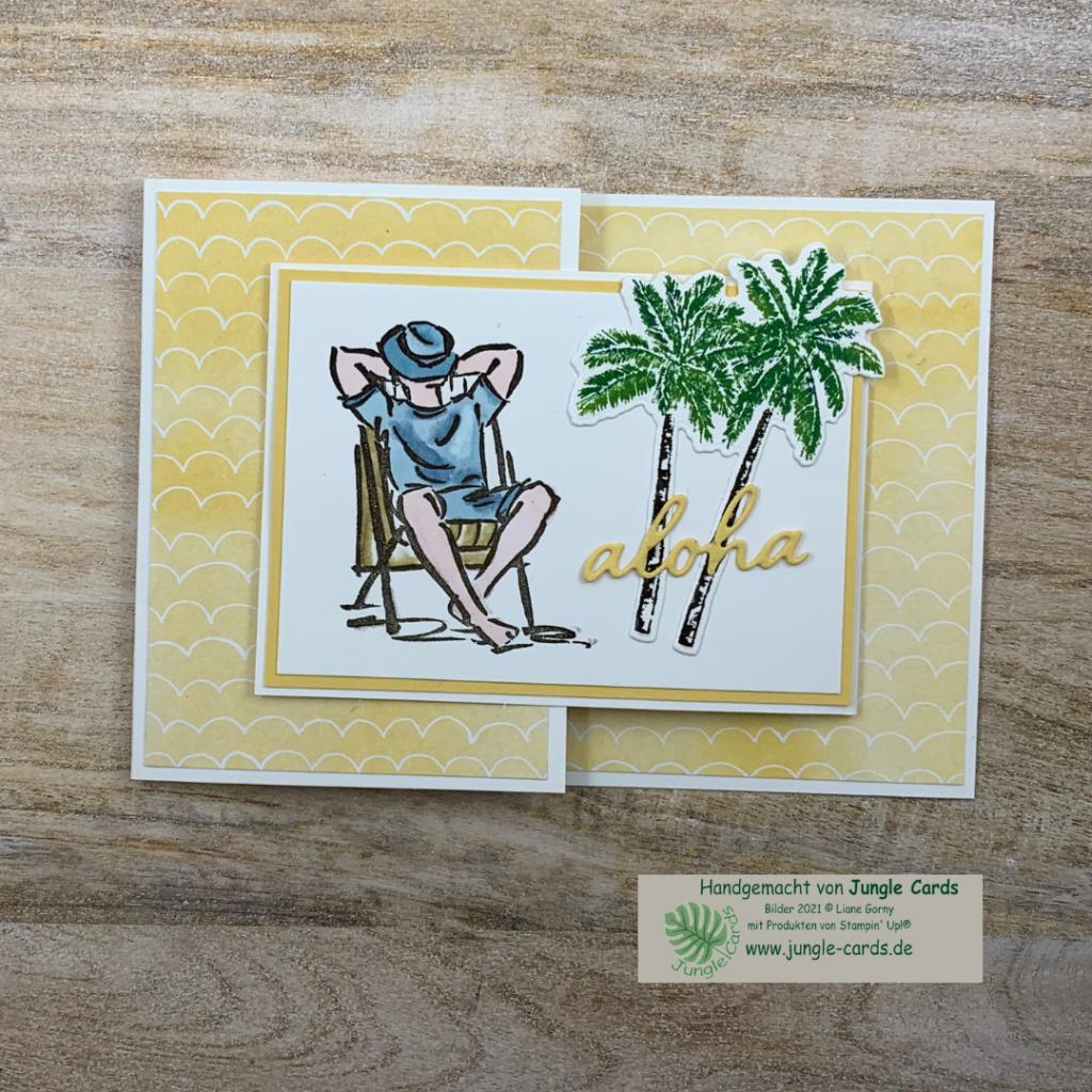 Urlaubsgrüße, Entspannung, zweifache Klappkarte, Palmen