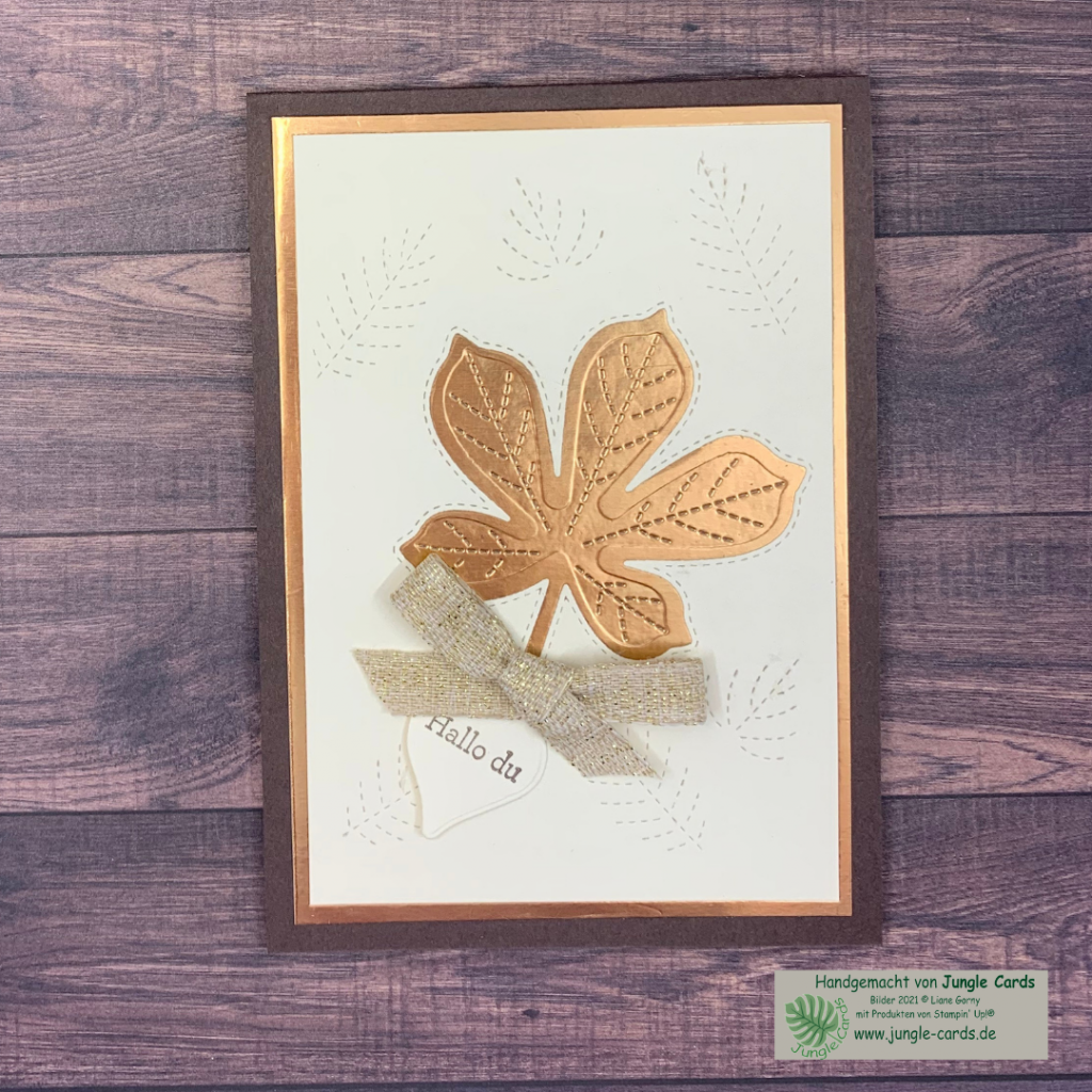 Herbstliche Grußkarte, Metallic, bestickte Blätter, Hallo du