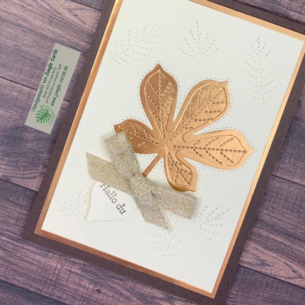 Herbstliche Grußkarte, Metallic, bestickte Blätter, kleiner Spruch