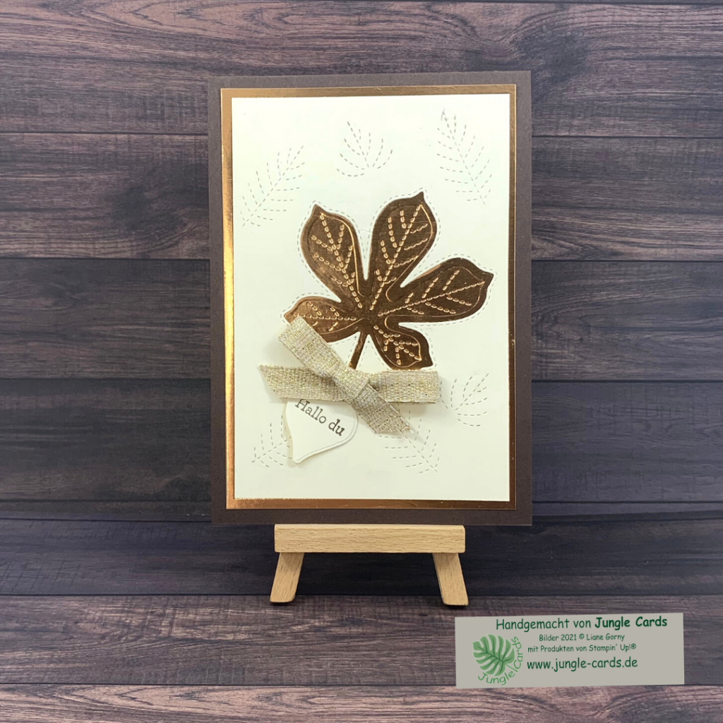 Herbstliche Grußkarte, Metallic, bestickte Blätter