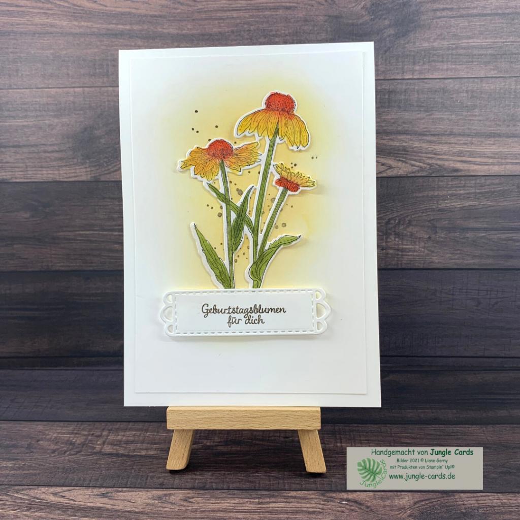 BlogHop, Tintenträume, Herbstblumen, Sonnenhut, coloriert
