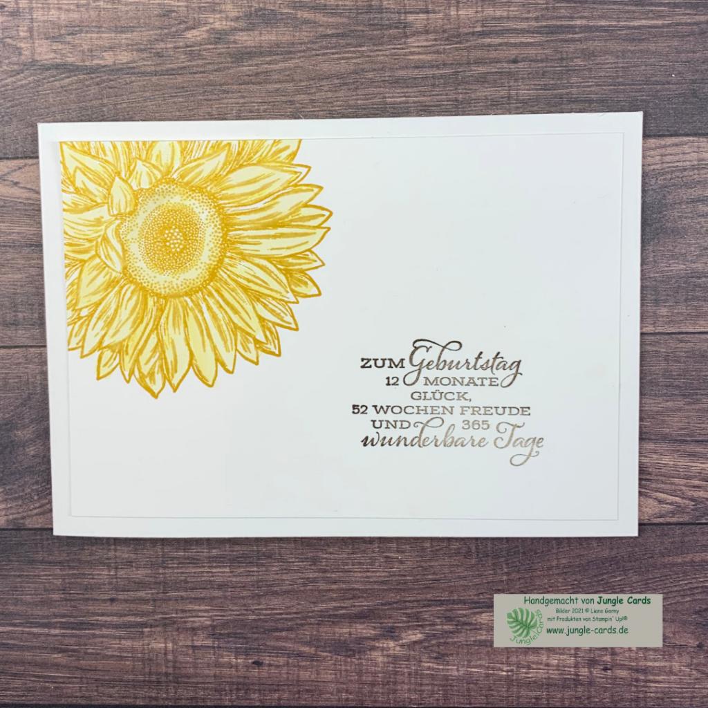 Stempelreise Blogparade, Clean und Simple Stempelset Sonnenblume, Gute-Laune-Gruß, Geburtstagskarte