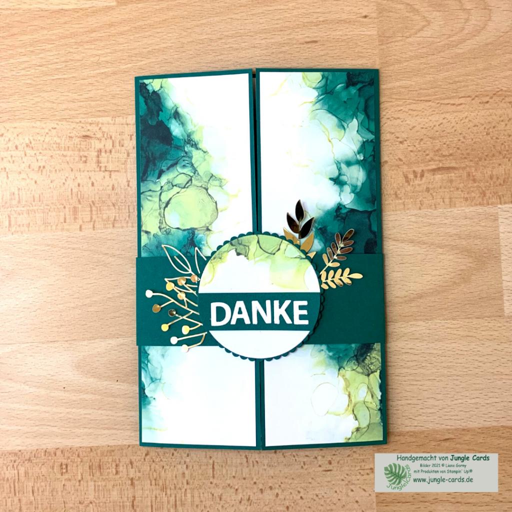 besondere Karte, Verschlusskarte, Shutter Card, Designpapier Tintenkunst Danke