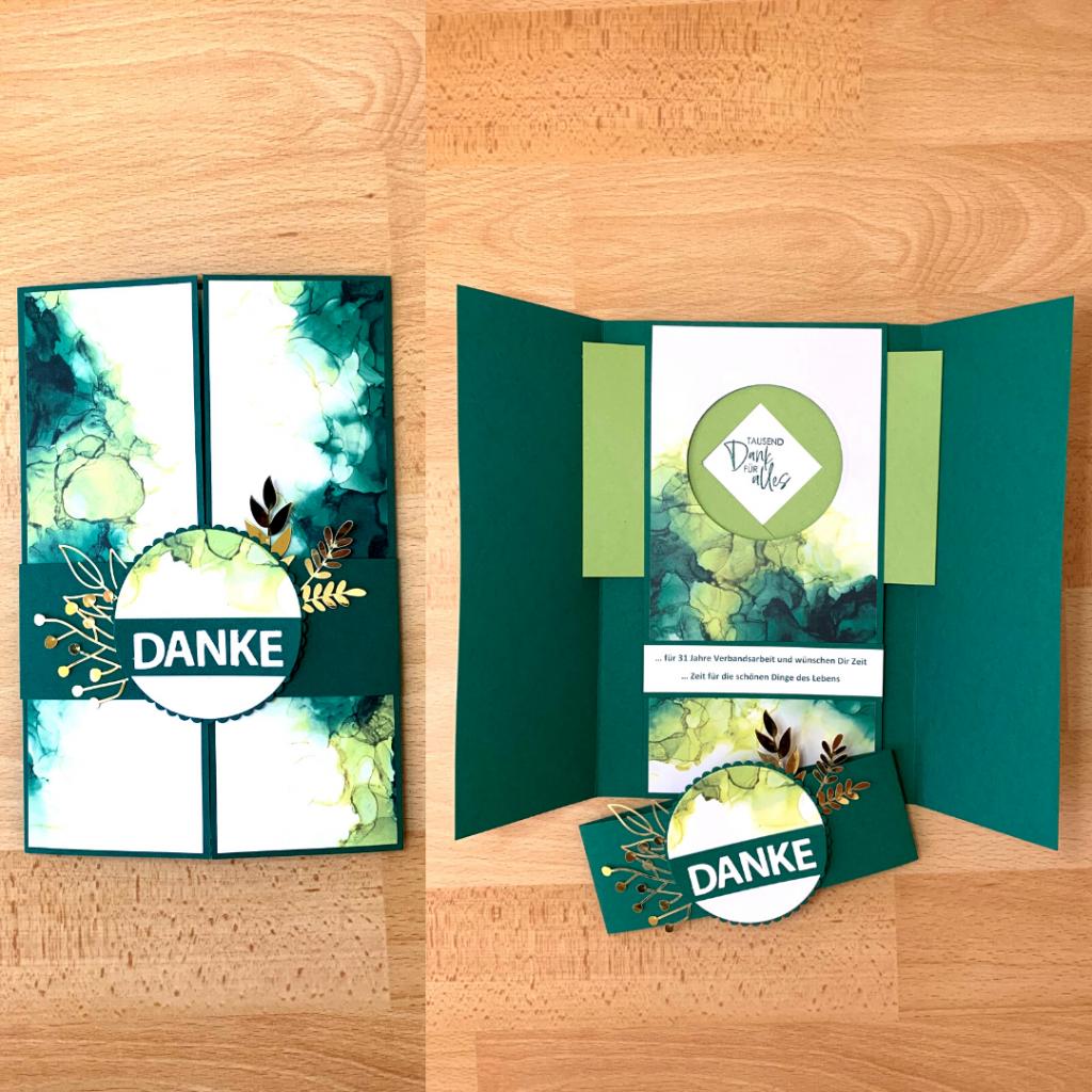 besondere Karte, Verschlusskarte, Shutter Card, Designpapier Tintenkunst, Danke für Verbandsarbeit