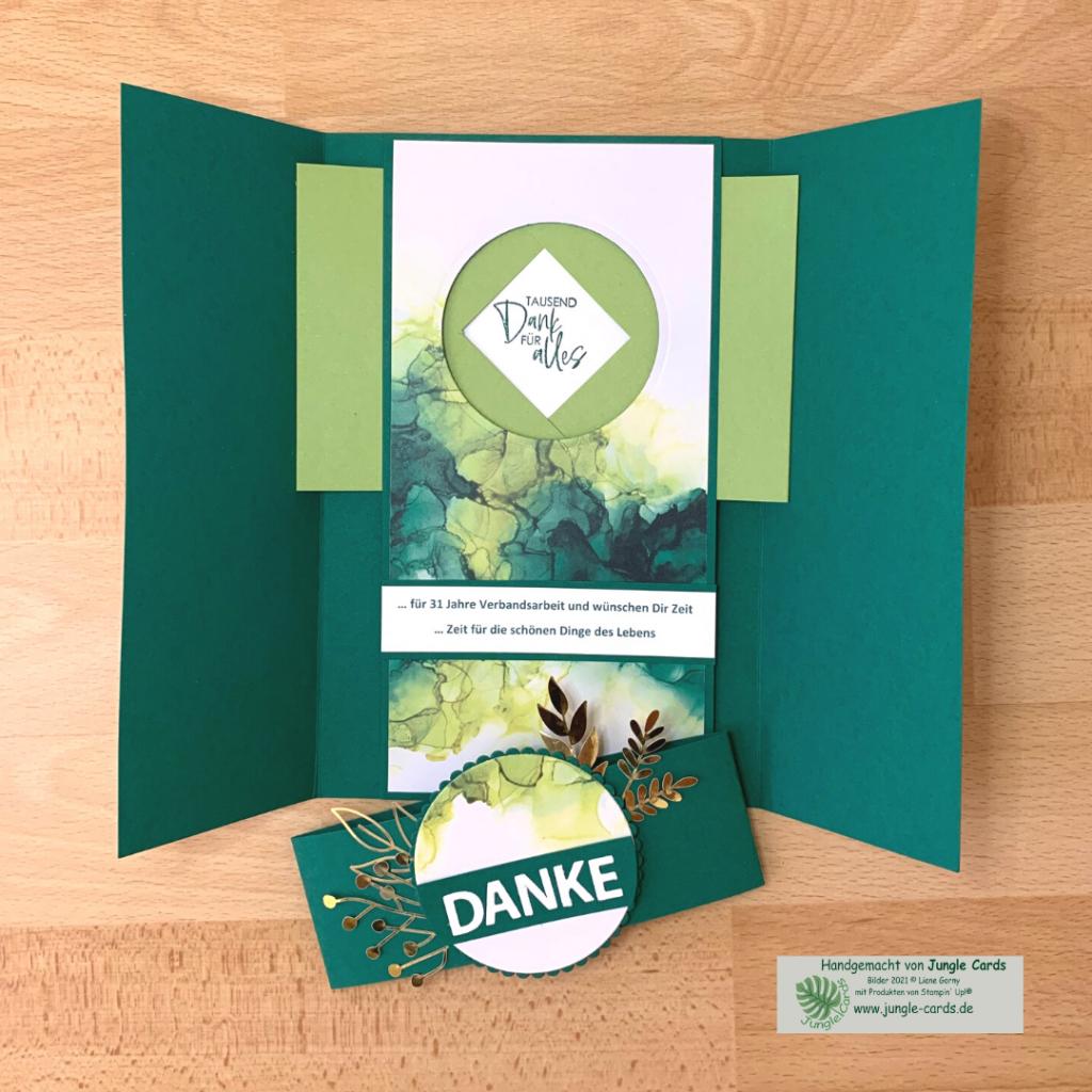 besondere Karte, Verschlusskarte, Shutter Card, Designpapier Tintenkunst
