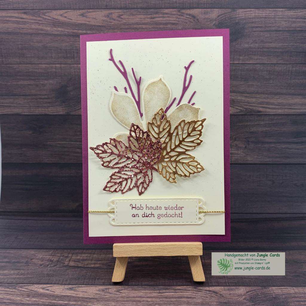 herbstliche Grußkarte, Ahornblätter, Glitzer