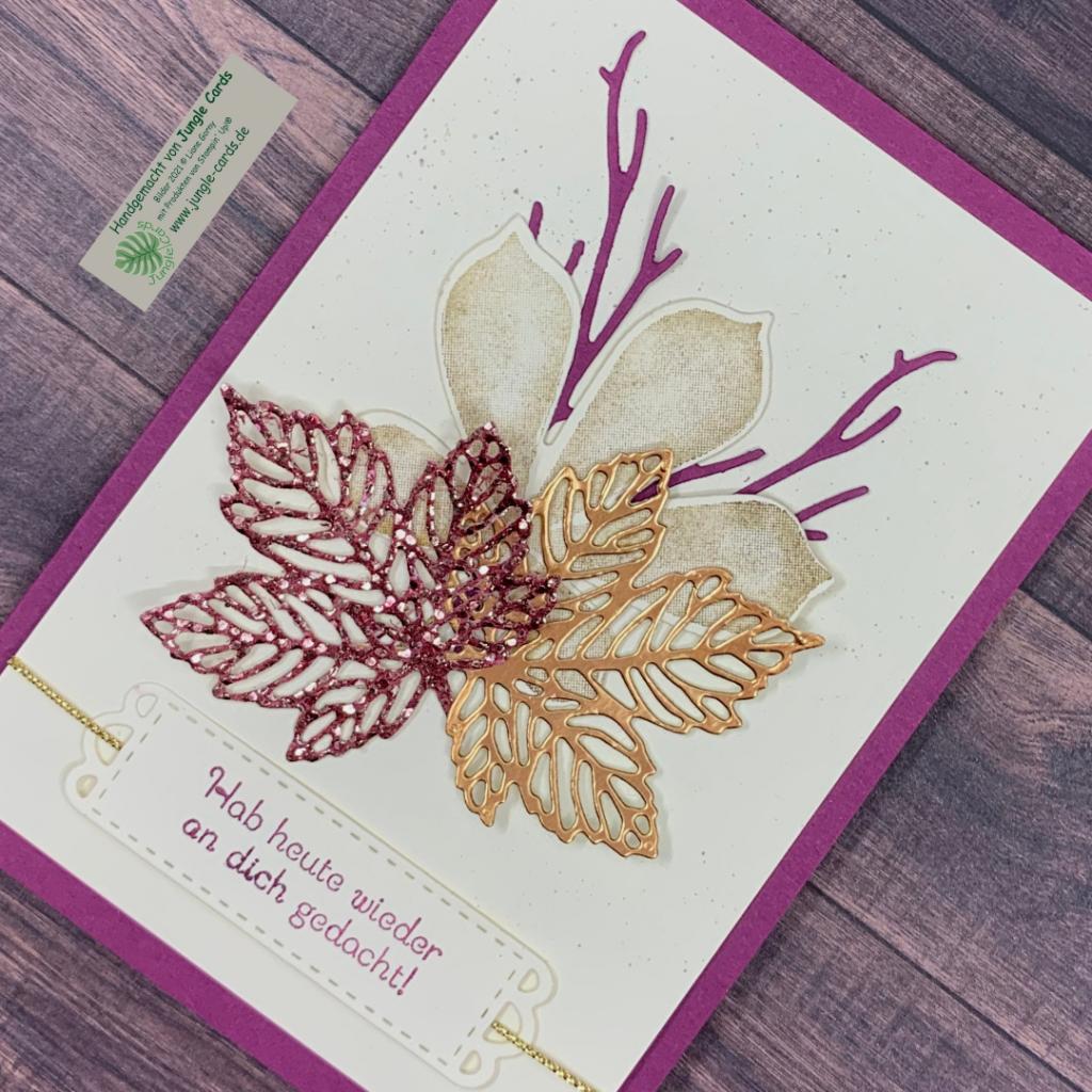 herbstliche Grußkarte, Ahornblätter, Glitzer, Herbst