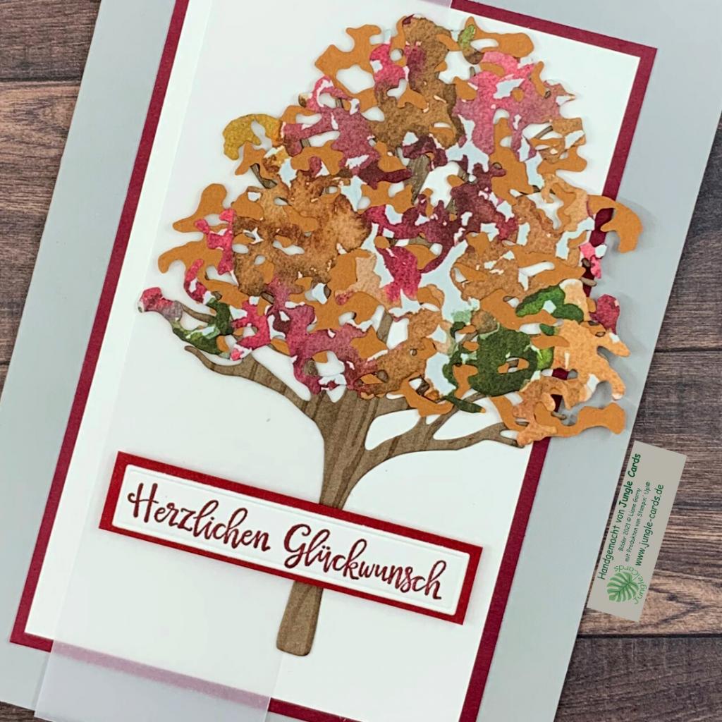 Herbst, Grusskarte, Schöne Natur, Herzlichen Glückwunsch, Laubbaum, Baumkrone