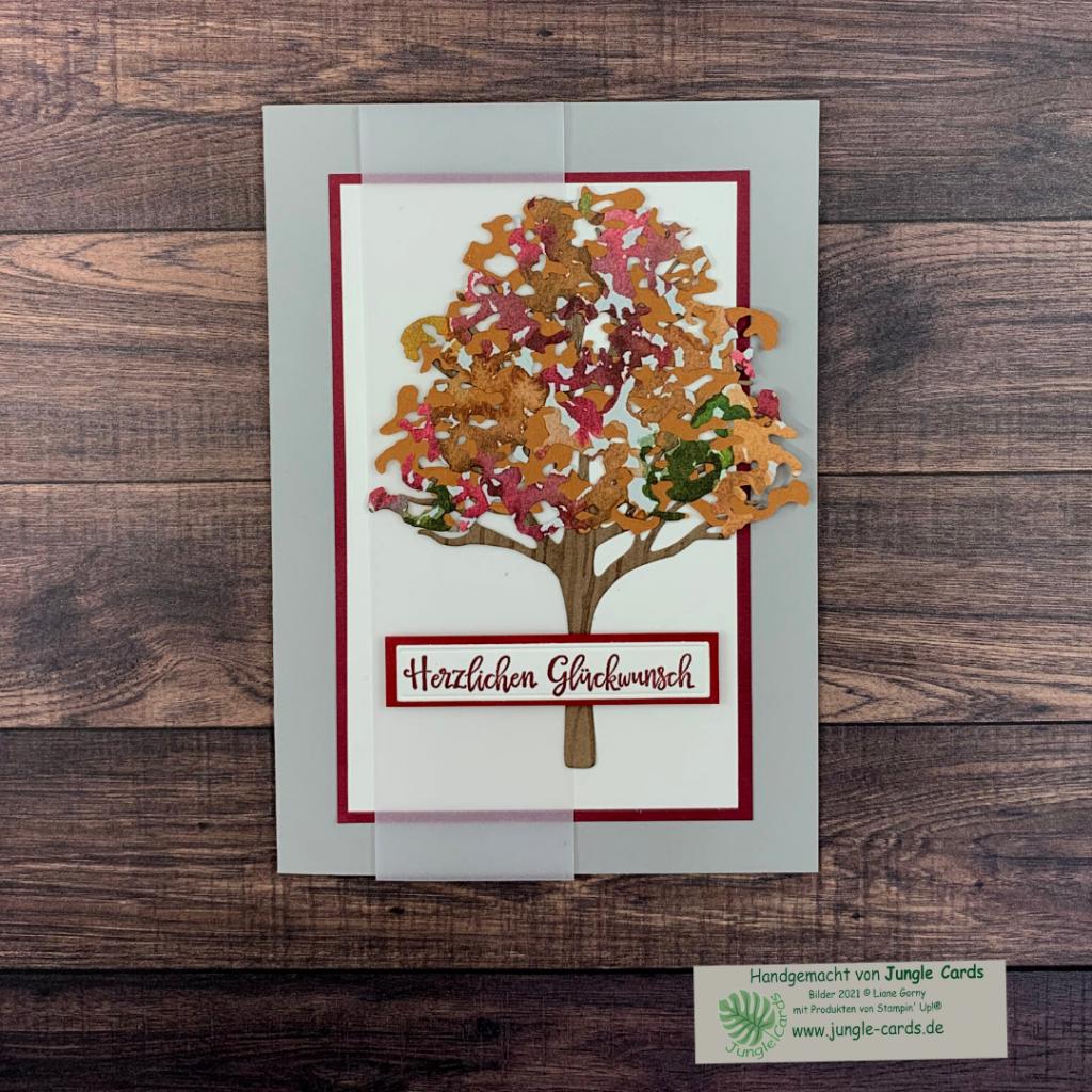 Herbst, Grusskarte, Schöne Natur, Herzlichen Glückwunsch, Laubbaum, Pergamentpapier